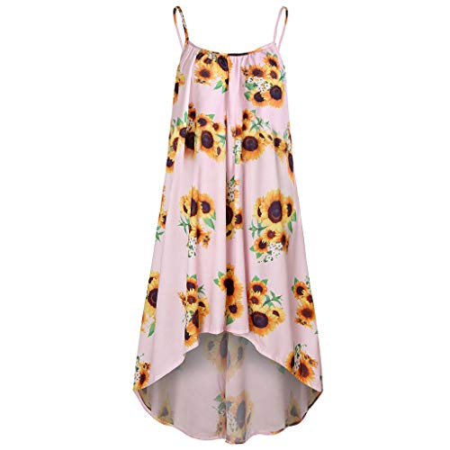 Fastbot Women's Casual Short Sleeve T Shirt Dresses Blouse Retro Sunflower Print Sling Less Large Swing Dress Pink