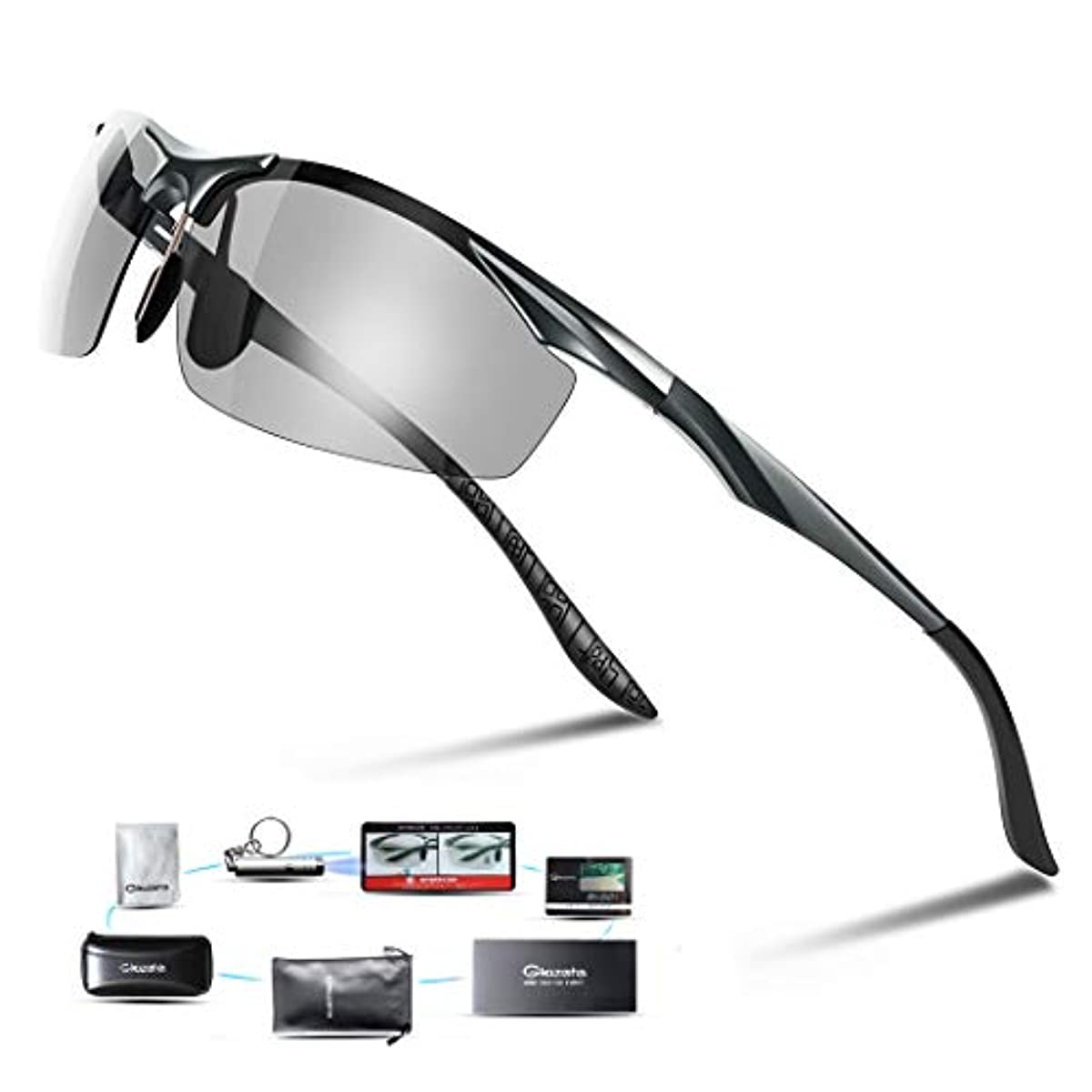 [해외] GLAZATA 편광 썬글라스 UV400 자외선 컷 초경량 메탈 프레임 스포츠 썬글라스 드라이기이브/야구/자전거/낚시/런닝/골프/운전 남녀 겸용