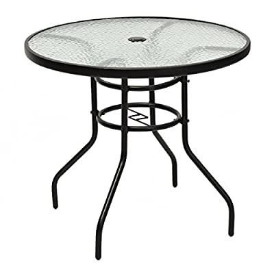 """TANGKULA 31.5"""" Outdoor Patio Table Round Steel Frame Tempered Glass Top Commercial Party Event Furniture Conversation Coffee Table Backyard Lawn Balcony Pool Umbrella Hole"""