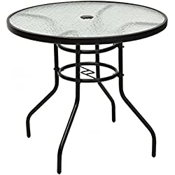 "TANGKULA 31.5"" Outdoor Patio Table Round Steel Frame Tempered Glass Top Commercial Party Event Furniture Conversation Coffee Table Backyard Lawn Balcony Pool Umbrella Hole"