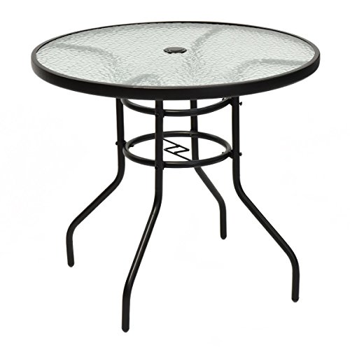 Tangkula 32 Outdoor Patio Table Round Steel Frame Tempered Glass Top Commercial Party Event Furniture Conversation Coffee Table for Backyard Lawn Balcony Pool with Umbrella Hole