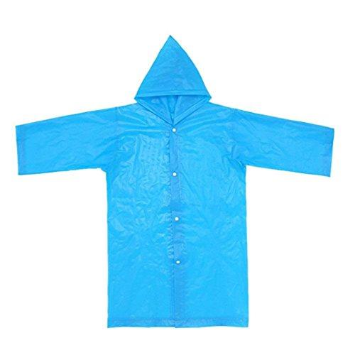 AutumnFall 2PCS Portable Thicker EVA Reusable Raincoats Rain Ponchos For 6-12 Years Old Children 2018 (Blue)