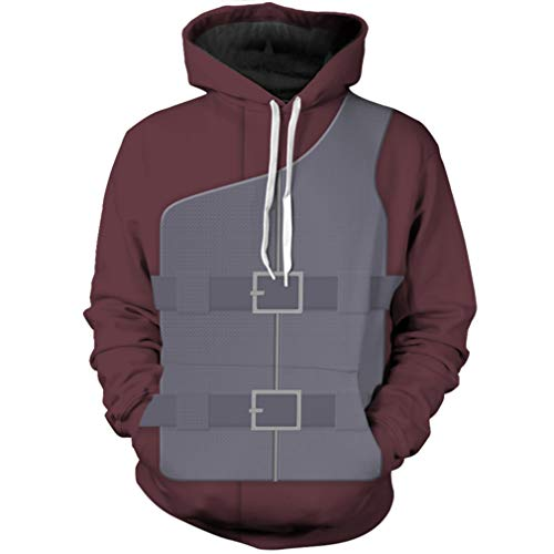 Obtai Men's Naruto Sabaku no Gaara Hoodies Sweatshirt 3D Printing Jacket Costume (Small, Grey)