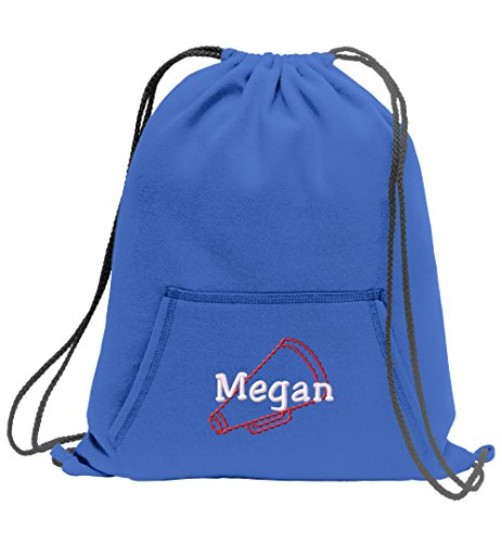 (All about me company Personalized Cheer Megaphone Sweatshirt Cinch Bag With Front Pocket)