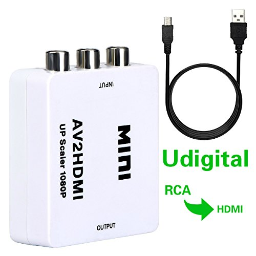 Udigital mini RCA/AV 3RCA Composite Video AV to HDMI Converter for TV/PC/PS3/Xbox one/Blue-Ray DVD