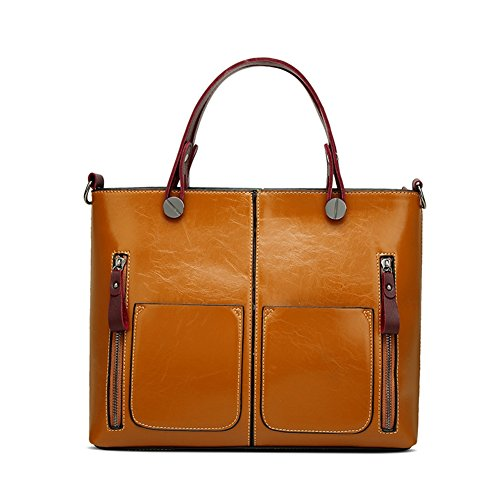 JUMENG Fashion Waterproof Women Oil Wax Leather Tote Bag Retro Shoulder Zipper