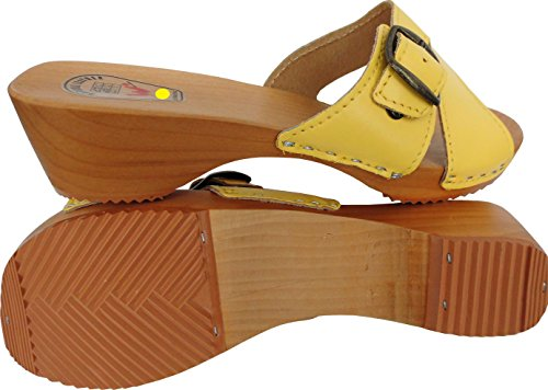 HOLZ (e) CLOGS - Pantolette Gr.37, 38, 39, 40, 41, 42 GELB, Echt Leder (Made in Poland 10-4-4-76)