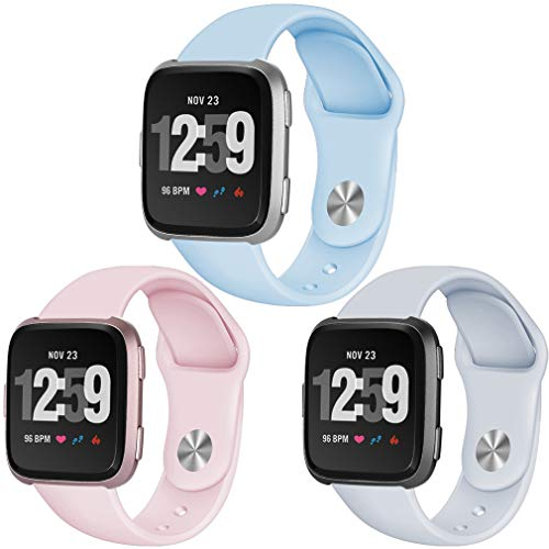 Hamile Bands Compatible for Fitbit Versa (3 Pack), Soft Replacement Fitness Watch Band Strap Writsband for Fitbit Versa Smart Watch,Women Men, Small,Powder Blue,Light Pink,Fog Gray