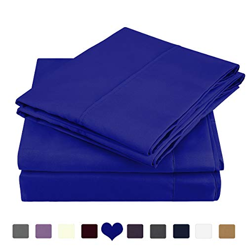HOMEIDEAS Bed Sheets Set Brushed Microfiber 1800 Bedding Sheets - Hypoallergenic, Wrinkle & Fade Resistant 4 Piece(Queen,Sapphire Blue)
