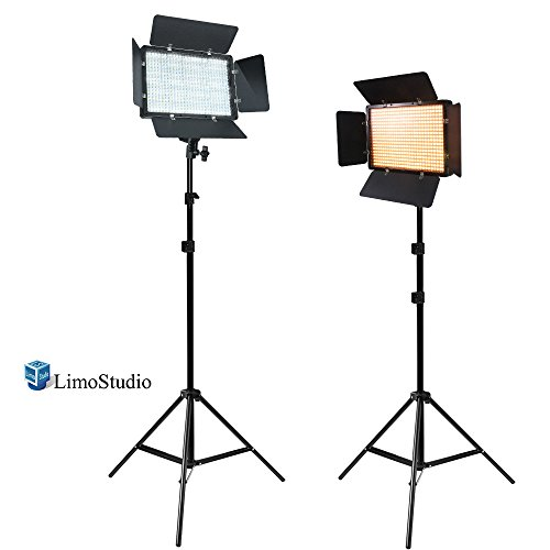 LimoStudio [2 Pack] LED Barn Door Light Panel with Light Stand Tripod, Dimmable, Color Temperature Control by Color Filter Gel, Continuous Lighting Kit, AC Power Cord, Photo Studio, VAGG2219 by LimoStudio