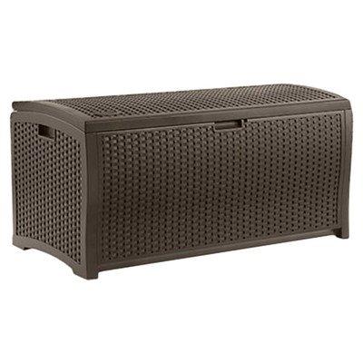Suncast Outdoor Patio 73 gal. Resin Wicker Storage Deck Box, Espresso
