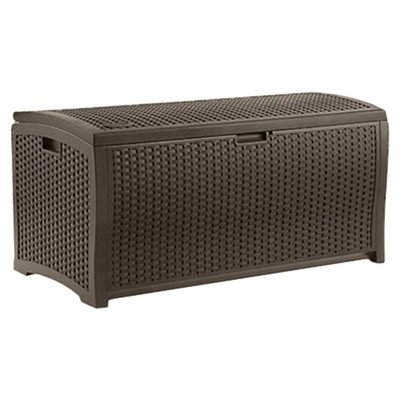 Suncast Outdoor Patio 73 gal. Resin Wicker Storage Deck Box, Espresso