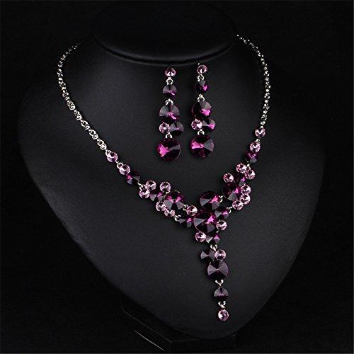 Fille Era Excellente Violet Cône Cristal Y Collier plastron Collier et boucles d'oreilles assorties Ensemble de bijoux