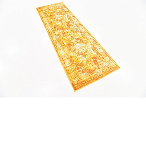 (Traditional Persian Vintage Design Rug Gray Rug Yellow 2' x 6' 7'' FT (201cm x 61cm) Runner Sofia Area Rug Inspired Overdyed Distressed Fancy)