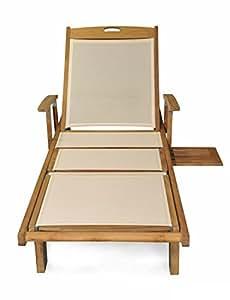 "80"" Natural Teak Outdoor Patio Wooden Cream Batyline Chaise Lounge Chair"