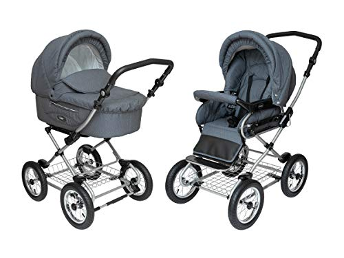 Roan Kortina Classic 2-in-1 Pram Stroller with Bassinet for Newborn Baby and Toddler Reclining Seat with Five Point Safety System UV Proof Canopy and Storage Basket Smokey Grey with Dots