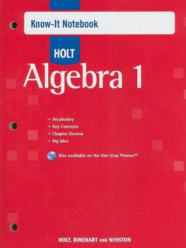 Holt Algebra 1: Know-It Notebook