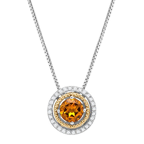 - 3/4 ct Citrine Pendant Necklace with Diamonds in Sterling Silver & 14K Gold
