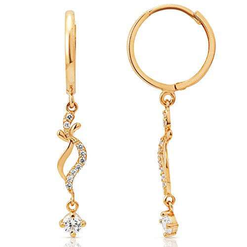 Fancy Decorative Winding Dangling Earrings in 14K Yellow Gold by Jewel Connection