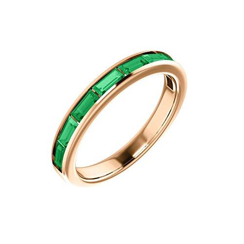 Bonyak Jewelry Lab-Created Emerald 14k Rose Gold Chatham Created Emerald Ring - Size 7