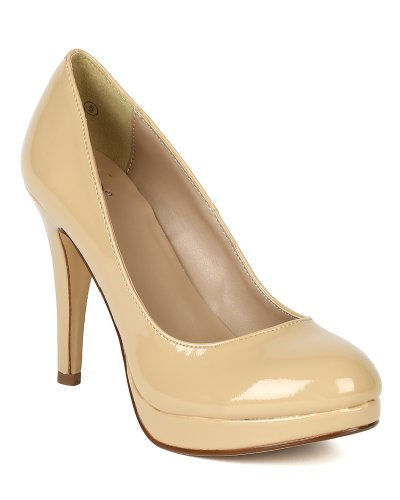 Delicious Women Patent Round Toe Platform Heel Pump BA22 - Dark Beige (Size: (Patent Round Toe Platform)