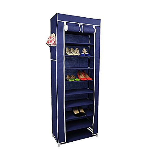 Smart-Home 10 Tiers Shoe Rack with Dustproof Cover Closet Shoe Storage Cabinet Organizer [Blue,...