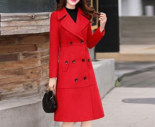 Mujer Rojo Invierno Otoño Nizi De Abrigo Chaqueta Lana Xqy E Larga Sección Falda Modelos Brillante Lana Cintura Femeninos Abrigo BFwSqqY