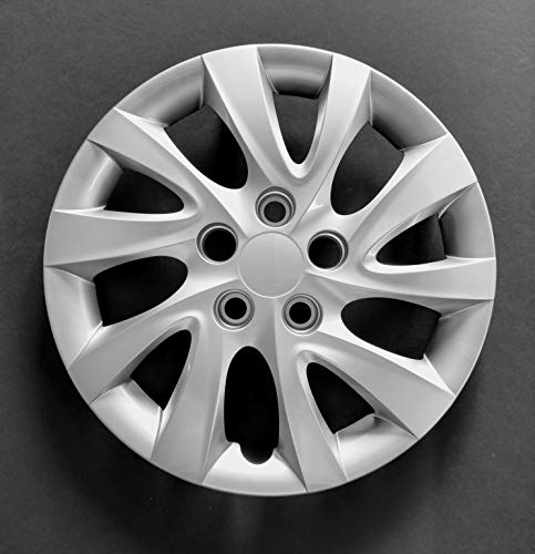 MARROW One New Wheel Cover Hubcap Replacement Fits 2011-2016 Hyundai Elantra; 16 Inch; 10 Twist Spoke; Silver Color; Plastic; Bolt On