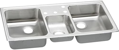 """Elkay PSMR43223 20 Gauge Stainless Steel 43"""" x 22"""" x 7.125"""" Triple Bowl Top Mount Kitchen Sink with 3 Faucet Holes"""