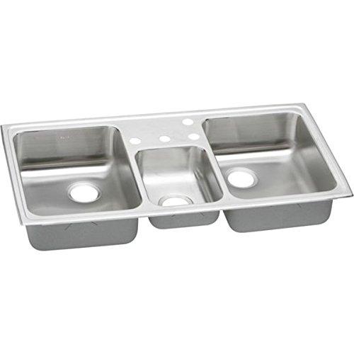 Elkay PSMR43224 Pacemaker Triple-Basin Drop-In Kitchen Sink, 20-Gauge, Stainless Steel (Triple Sink Basin)