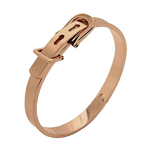 AENMIL Fashion Stainless Steel Bangle Couple Bracelet with Adjustable size Belt Buckle Cuff - Rose Gold Belt Buckle Bangle Bracelet