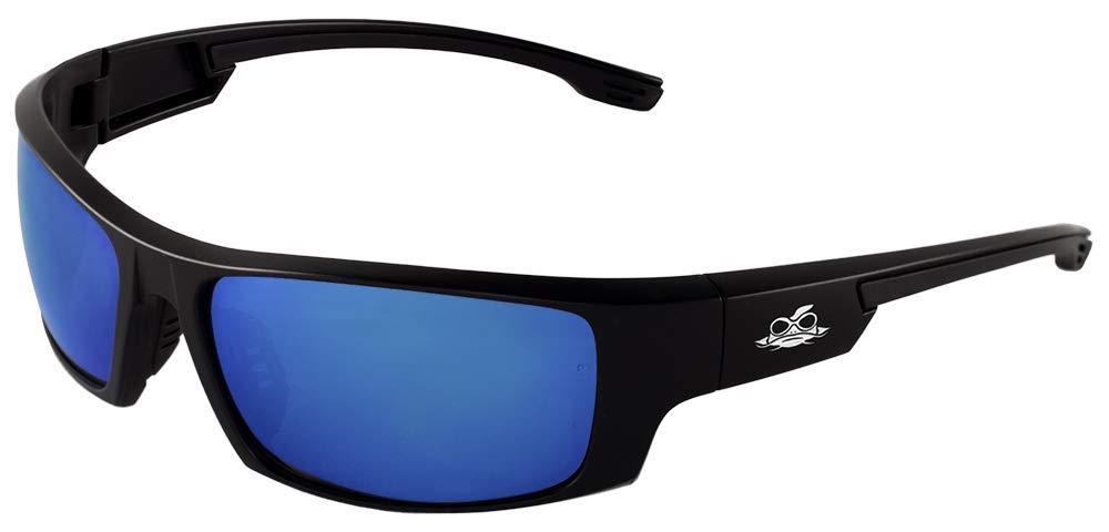 Bullhead Safety Eyewear BH969 Dorado, Matte Black Frame, Full Blue Revo Lens, Black TPR Nose and Temple (1 Pair)
