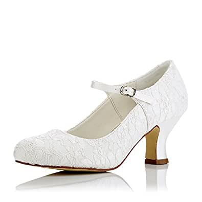 JIA JIA 11016 Women's Bridal Shoes Closed Toe Mid Heel Lace Satin Pumps Wedding Shoes Colour Ivory,Size 3.5 UK/35 EU