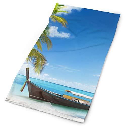 Women Men Head Wrap Neck Gaiter for Alopecia Cancer Chemo - Palm Tree Boat Beach Ocean Sea Hawaiian Tropical Headwear Sweat Wicking Hip-Hop Balaclava Multipurpose Sun Cap for Motorcycling Hiking