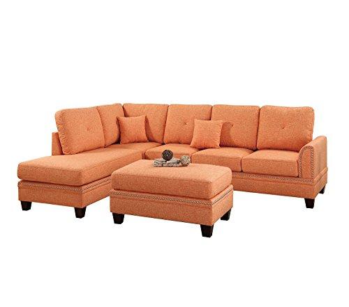 Poundex Y651418 Bobkona Anondale Sectional Set, Citrus For Sale