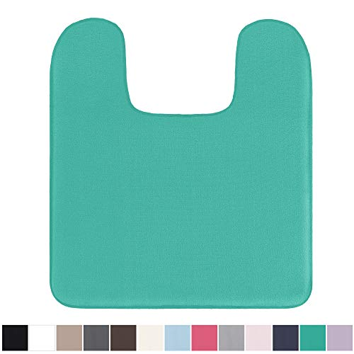 Gorilla Grip Original Thick Memory Foam Contour Toilet Bath Rug 22.5x19.5 (Square) Cushioned, Soft Floor Mats, Absorbent Kids Bathroom Mat Rugs, Machine Wash/Dry, Plush Bath Room Carpet (Turquoise) ()
