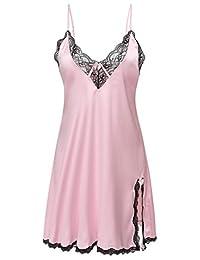 Ekouaer Women's Satin Lace Trim Slip Chemise Nightgown