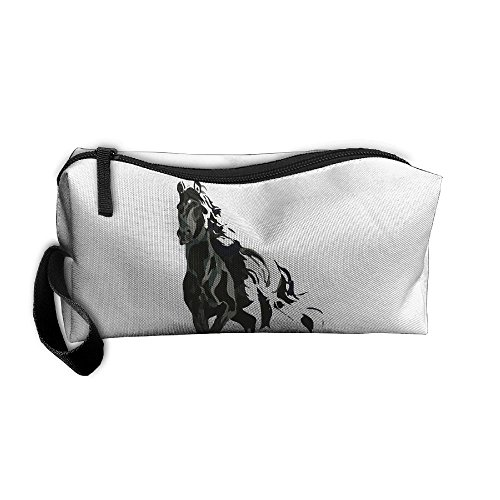 Portable Make-up Receive Bag Horse Pattern Travel&home Storage Bag Zipper Organization Space Saver Canvas Buggy Pouch -