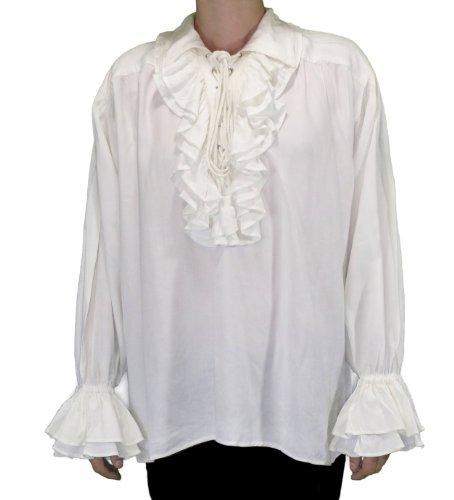 Captain Charles Vane Pirate Shirt - White Cotton Blend - Size Small/Medium