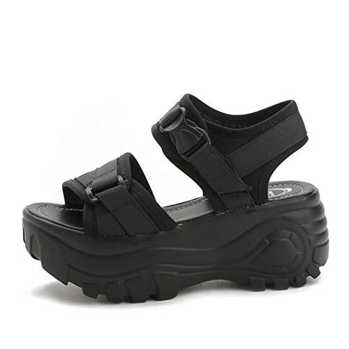 Women's Platform Sandals Summer Fashion Roman Style Buckle Design Shoes Female Thick Soled Casual Sandal Black