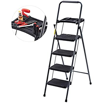 Finether Folding 4 Step Ladder With Platform Lightweight