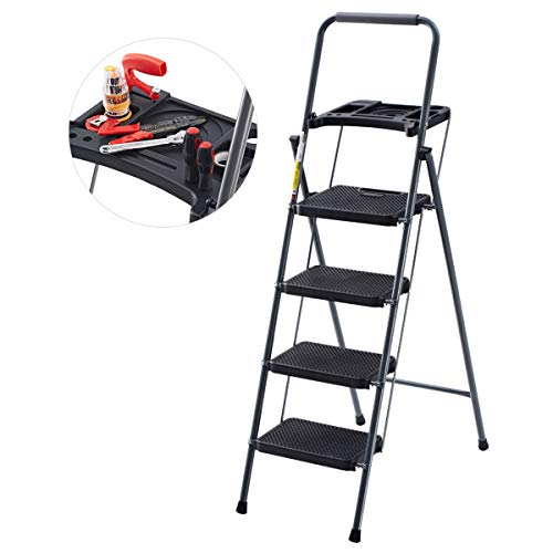 (Finether Folding 4 Step Ladder with Platform Lightweight Portable Step Stool with Tool Project Tray, Non-Slip Treads, 330 lbs Weight Capacity)