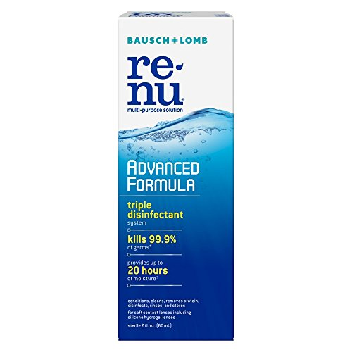Bausch and Lomb ReNu Advanced Formula Multi-Purpose Cleaning and Disinfectant Solution for Soft Contact Lenses, Travel Size 2 oz - Pack of 6