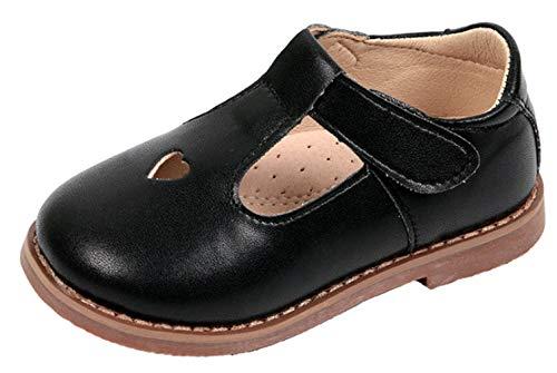 WUIWUIYU Girls' Oxfords Shoes T-Strap Casual Walking School Uniform Dress Princess Mary Jane Flats Black US Size 10.5 M ()