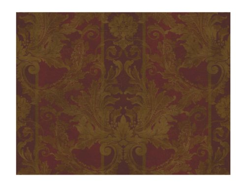 York Wallcoverings GL4727 Brandywine Aidi Damask Stripe Wallpaper, Deep Red/Bronzed Gold/Dark Tan - Classic Acanthus Leaves Wallpaper