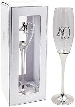 Copa de cava glamurosa chapada en plata para 40 cumpleaños, de cristal con caja de presentación: Amazon.es: Hogar