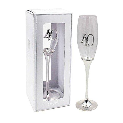 Copa de cava glamurosa chapada en plata para 40 cumpleaños ...