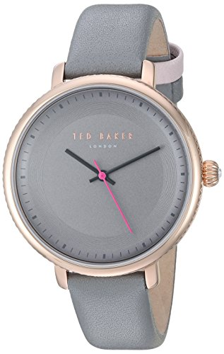 Ted Baker Round Dial (Ted Baker Women's 'ISLA' Quartz Stainless Steel and Leather Dress Watch, Color:Grey (Model: 10031534))