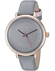 Ted Baker Womens ISLA Quartz Stainless Steel and Leather Dress Watch, Color:Grey (Model: 10031534)