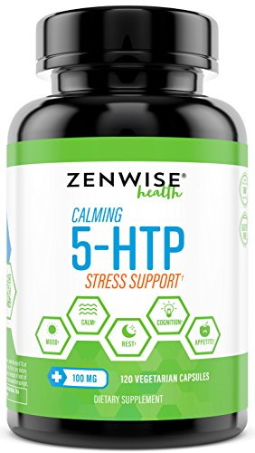 5-HTP - 100 MG With Vitamin B6 - Stress Relief Support & Mood Control - Natural Appetite Suppressant for Weight Loss - Sleep Aid Supplement & Brain Booster - 120 Vegetarian Capsules